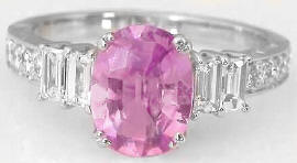 3.07 ctw Oval Pink Sapphire and Baguette Diamond Engagement Ring in 18k white gold