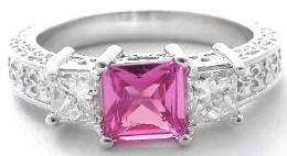 Vintage Engraved Princess Cut Pink Sapphire Ring in 14k gold