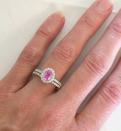 Pink Shire Diamond Halo Ring In 14k White Gold