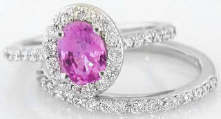 Oval Pink Sapphire Diamond Engagement Ring with Matching Diamond Wedding Band in 14k white gold