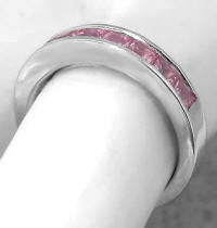 Channel Set Princess Cut Pink Sapphire Band Rings in 14k white gold