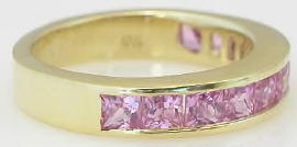 Channel Set Princess Cut Pink Sapphire Band Rings in 14k gold