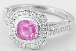 1.93 ctw Pink Sapphire and Diamond Ring in Platinum