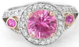 Round Pink Sapphire and Diamond Engagement Ring in 14k White and Rose Gold