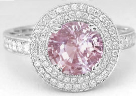 Dazzling Round Pink Sapphire and Diamond Ring