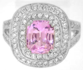 Light Pink Sapphire and Double Diamond Halo Rings