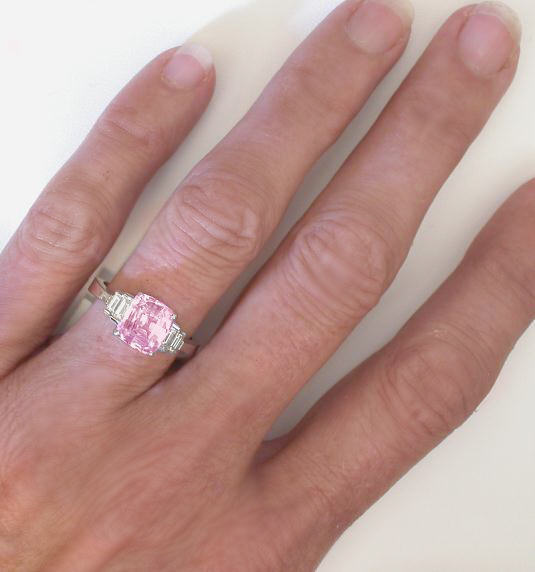 Inviting 3 54 Ctw Unheated Pink Sapphire And Baguette Diamond Ring