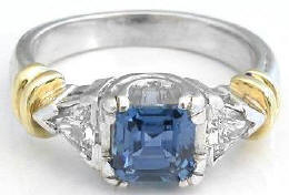 Square Cut Blue Sapphire and Trillion Diamond Engagement Ring in Platinum and 18k