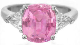 Platinum Pink Sapphire Trillion Diamond Engagement Rings