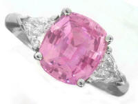 Past Present Future Pink Sapphire and Trillion Diamond Rings in Platinum