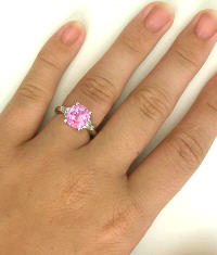 Cushion Cut Pink Sapphire and Trillion Diamond Ring in Platinum