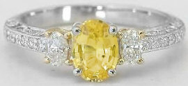 Vintage Platinum Yellow Sapphire and Diamond Engagement Ring