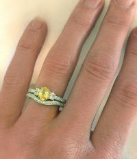 Platinum Engagement Set with Yellow Sapphire