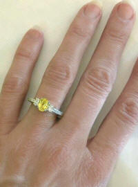Platinum Yellow Sapphire and Diamond Engagement Ring with Vintage Styling