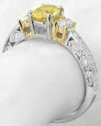 Vintage Platinum and 18k Yellow Sapphire and Diamond Engagement Ring