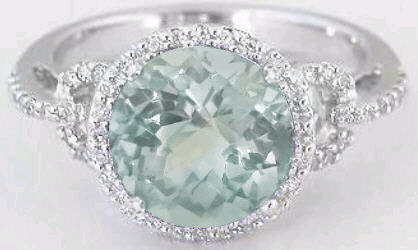 Graceful 2.20 ctw Green Amethyst and Diamond Halo Ring in 14k white gold