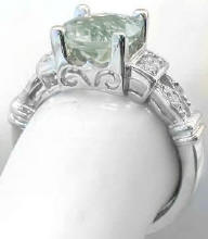 Checkerboard Faceted Green Amethyst Rings in 14k