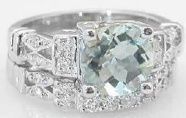 Green Amethyst Engagement Ring with Matching Diamond Wedding Band in 14k