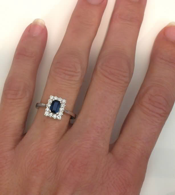 Sapphire Rings With Emerald Cut Sapphire In 14k White Gold From