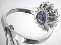 Oval Ceylon Blue Sapphire and Diamond Halo Rings in 14k white gold