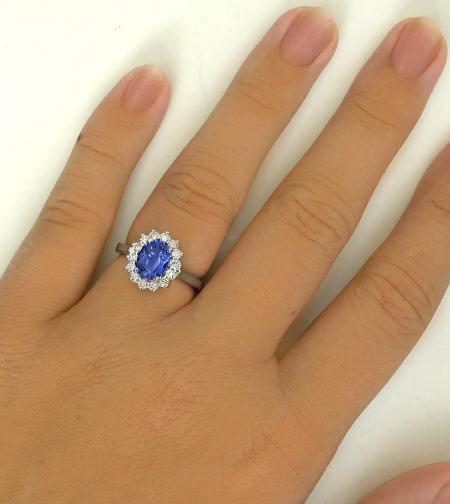 Princess Diana Styled Oval Sapphire and Diamond Halo Ring ...