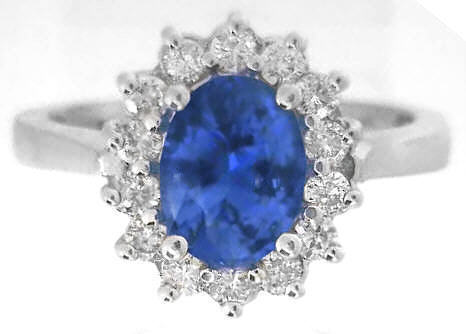 Princess Diana Styled Oval Sapphire And Diamond Halo Ring In 14k White Gold Gr 5875