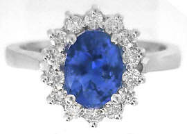 Kate Middleton Natural Sapphire Ring with real Diamond Halo in solid White Gold for sale