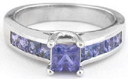 Unique 1.50 ctw Shades of Princess Cut Purple Sapphire Ring in 14k white gold