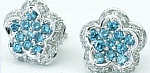 Blue Diamond and White Diamond Pave Flower Earrings in 18k white gold