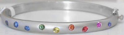 1.35 ctw Rainbow Sapphire Bangle Bracelet in 14k white gold with Satin Finishing