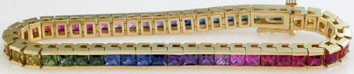 Exceptional Princess Cut Rainbow Sapphire Bracelets in 14k gold