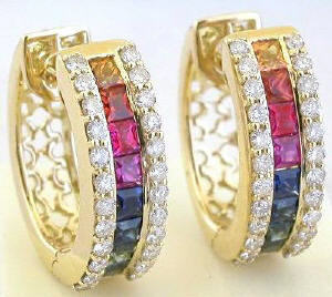 Princess Cut Rainbow Sapphire and Diamond Earrings in 18k gold