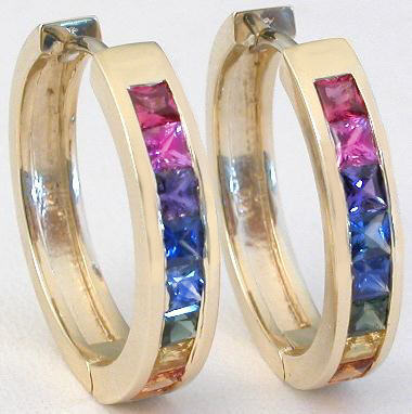 2.2 ctw Princess Cut Rainbow Sapphire Hoop Earrings in 14k yellow gold