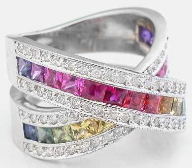 Rainbow Sapphire Diamond Rings Signature Design From