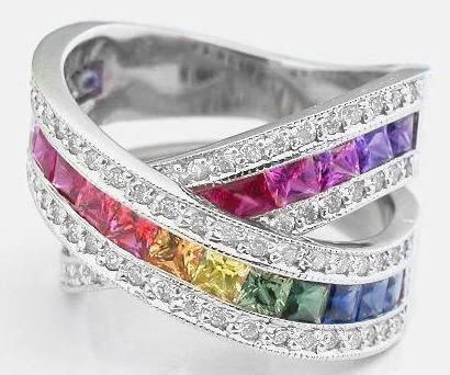 stunning princess cut rainbow sapphire rings princess cut rainbow sapphire and diamond rings - Rainbow Wedding Rings