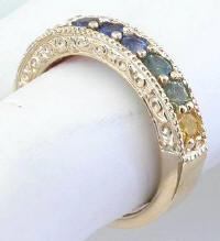 Unique Rainbow Sapphire Band Rings in 14k Yellow Gold