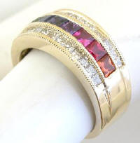 Princess Cut Rainbow Sapphire Diamond Wide Band Rings