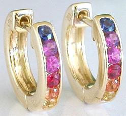 Rainbow Sapphire Huggie Hoop Earrings in 14k yellow gold