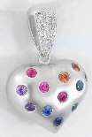 White Gold Rainbow Sapphire Heart Necklace