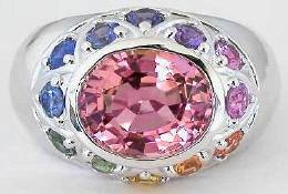 7.04 ctw Pink Tourmaline and Rainbow Sapphire Ring in 14k white gold