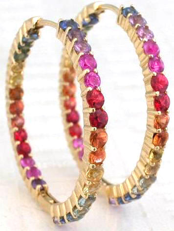 Rainbow Sapphire Hoop Earrings From Myjewelrysource Ge 5045