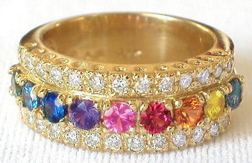 Rainbow sapphire rings