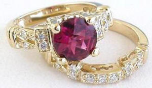 Rhodolite Engagement Ring and Wedding Band in 14k yellow gold