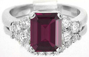 Emerald Cut Rhodolite and Diamond Engagement Ring and Matching Band