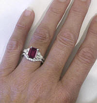 Emerald Cut Rhodolite and Diamond Engagement Rings with Matching Diamond Wedding Band