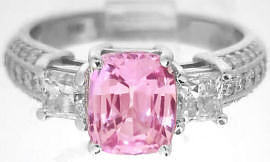 Cushion Cut Pink Sapphire Engagement Ring