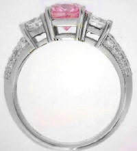 Cushion Cut Pink Sapphire Princess Diamond Ring