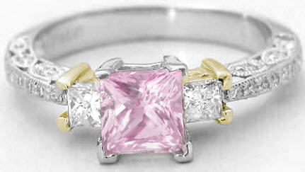 Antique Style Princess Cut Pink Sapphire Engagement Rings