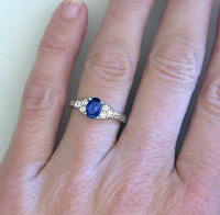 Oval Sapphire and Diamond Rings in 14k white gold