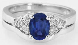 Diamond and Sapphire Engagement Rings and Matching Wedding Band